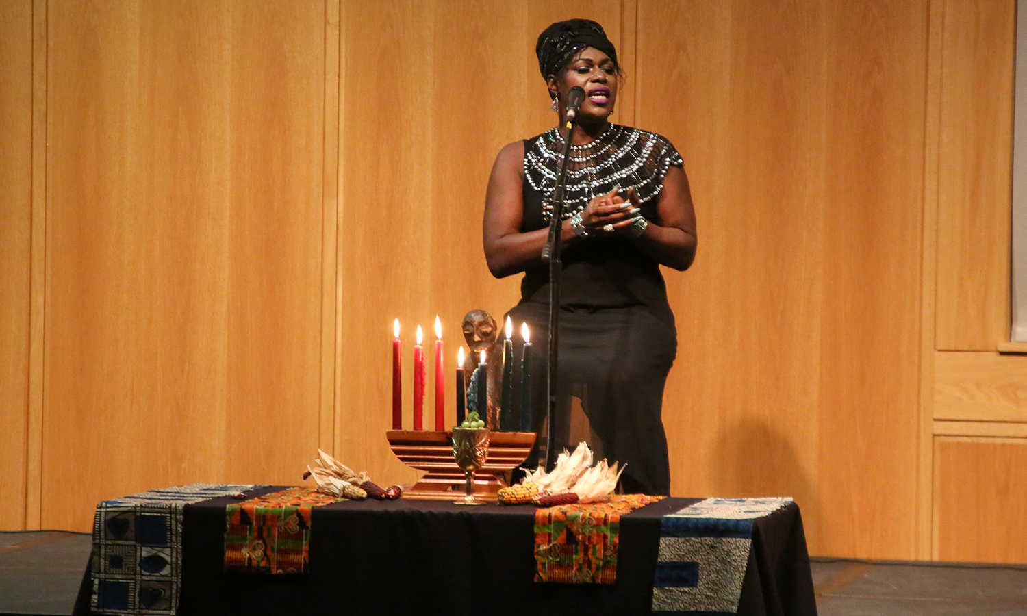 Transgender singer/songwriter Shea Diamond performs during the annual Kwanzaa Celebration in the Vandervort Room of the Scandling Campus Center.