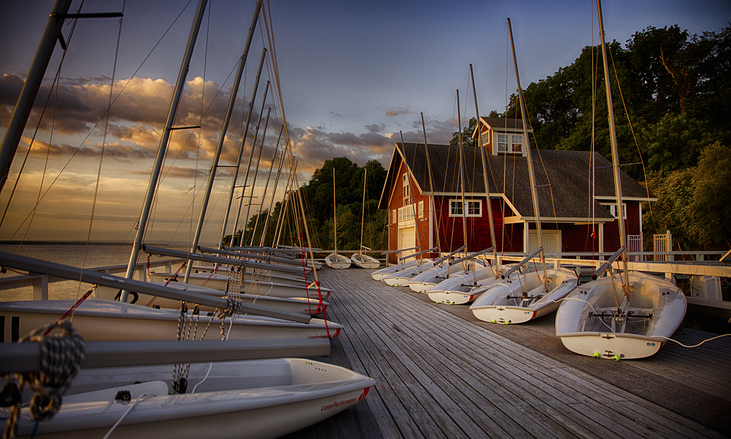 The HWS Bozzuto Boathouse at sunrise.