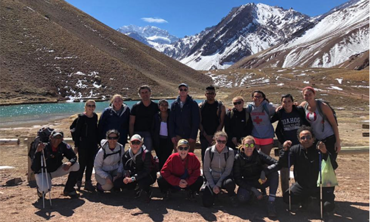 Students from the Mendoza abroad program pose with Associate Professor of History Colby Ristow at Aconcagua Provincial Park.