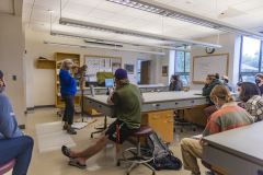 """During Wednesday class in Ornithology (BIOL 356), Daena Ford from Braddock Bay Raptor Research will teach class about some our local raptors with the help of several """"education birds"""" that she cares for."""
