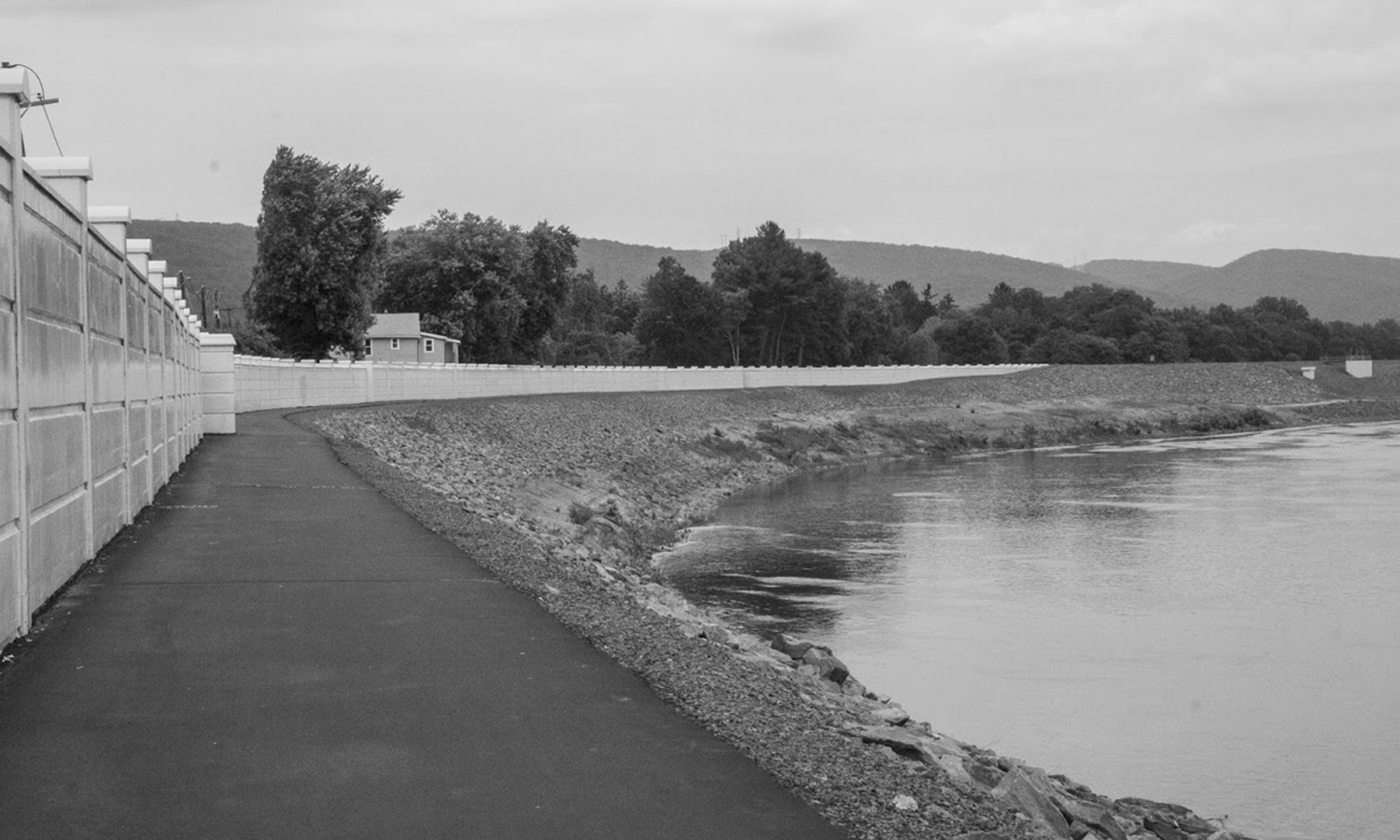 """Kate Barilla '23 looked at """"how the landscape of an area affects human life and vice versa"""" in her photographic study of the Susquehanna River levee system."""