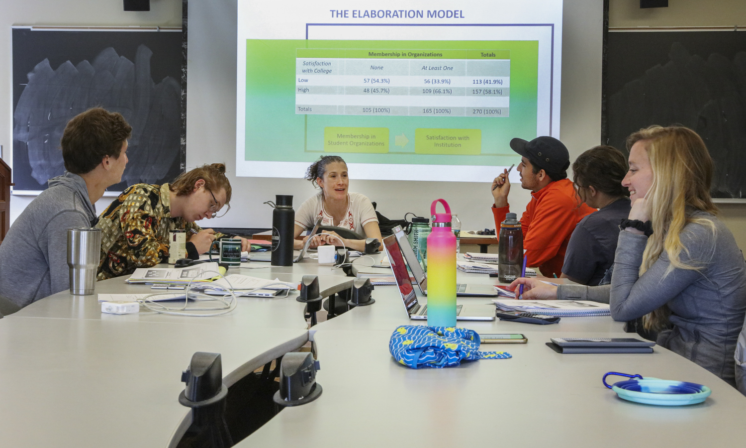 Professor Kendralin Freeman teaches a data analysis course during Maymester.