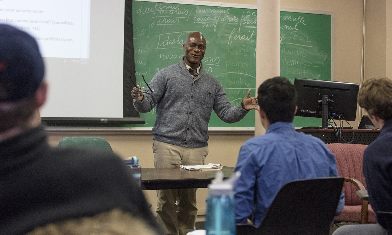 """Associate Professor of French and Francophone Studies reviews vocabulary during """"Intermediate French II"""" in Demarest Hall."""