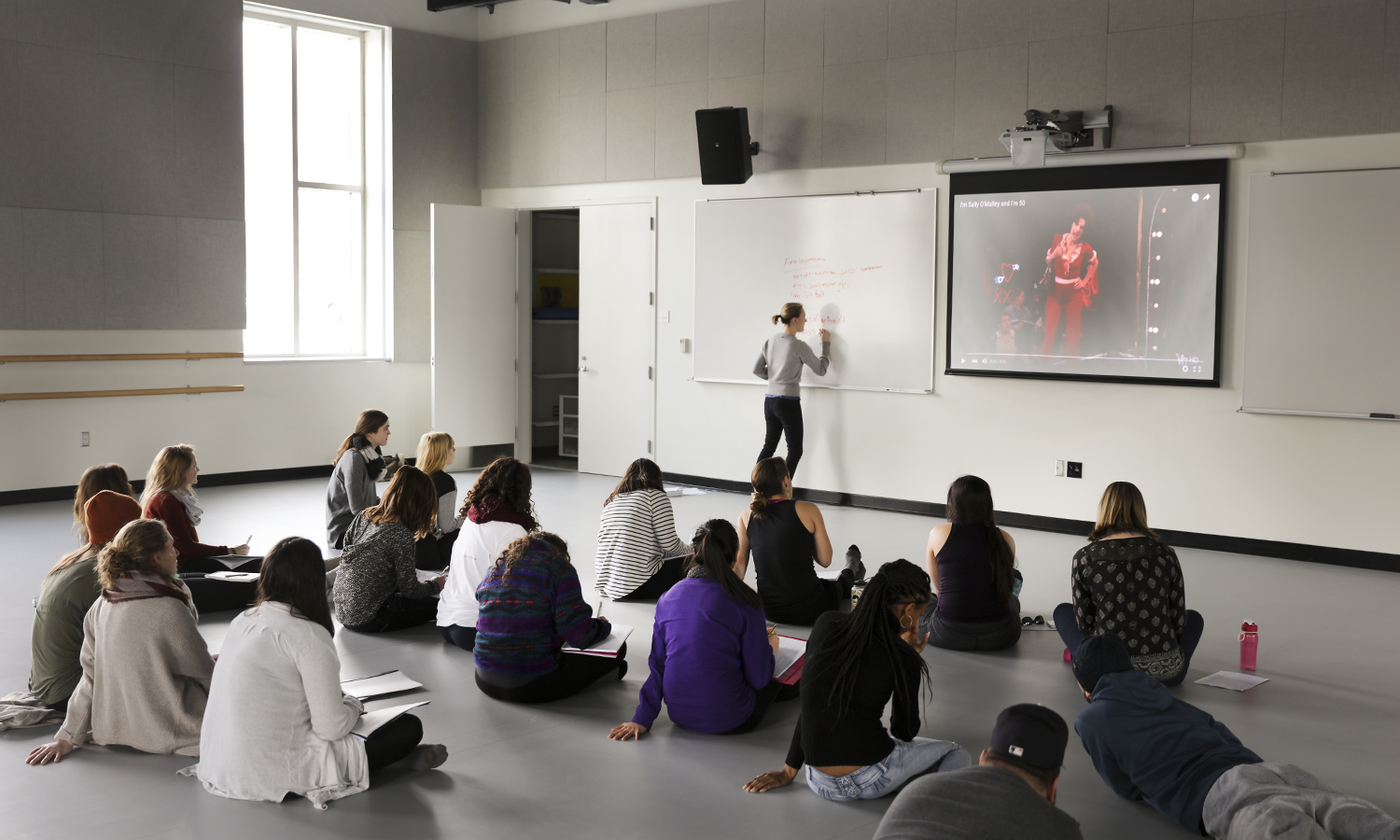 """First Day of Classes in the Gearan Center for Performing Arts. Colleen Culley Adjunct Assistant Professor, """"the Laban Studies class"""" in Ashton Dance Studio"""