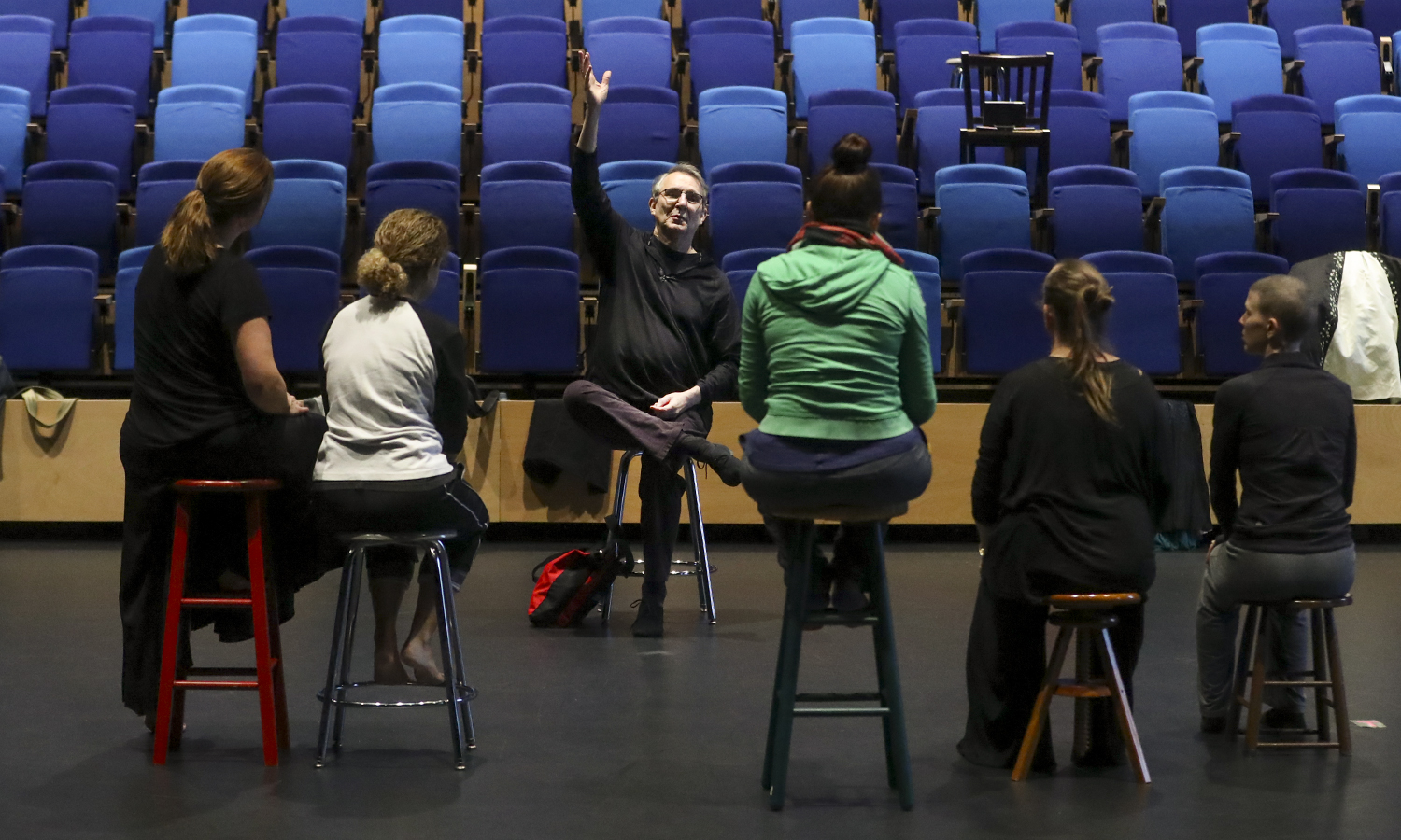 "Renowned choreographer and performer William ""Bill"" Evans meets with Dance Department faculty members in the Deming Theatre of the Gearan Center for the Performing Arts."