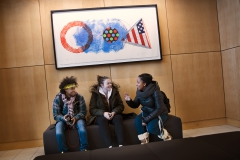 German Veras '17, Marie Claire Hamet '19 and Sydney Gomez '17 check out the new spaces in the Gearan Center for the Performing Arts.