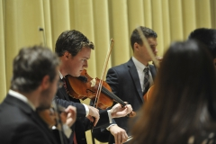 Dan Klementowski '17 plays the violin during the HWS String Ensemble concert in Froelich Hall of the Gearan Center for the Performing Arts.