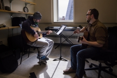 Guitar Instructor Benjamin Ellis works with Nicholas Liverio '16 in the Gearan Center for the Performing Arts.