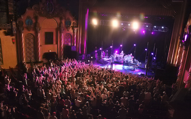 Popular indie rock band Passion Pit performs an end of the year concert at the Smith Opera House for a huge crowd of HWS students and Geneva community members.