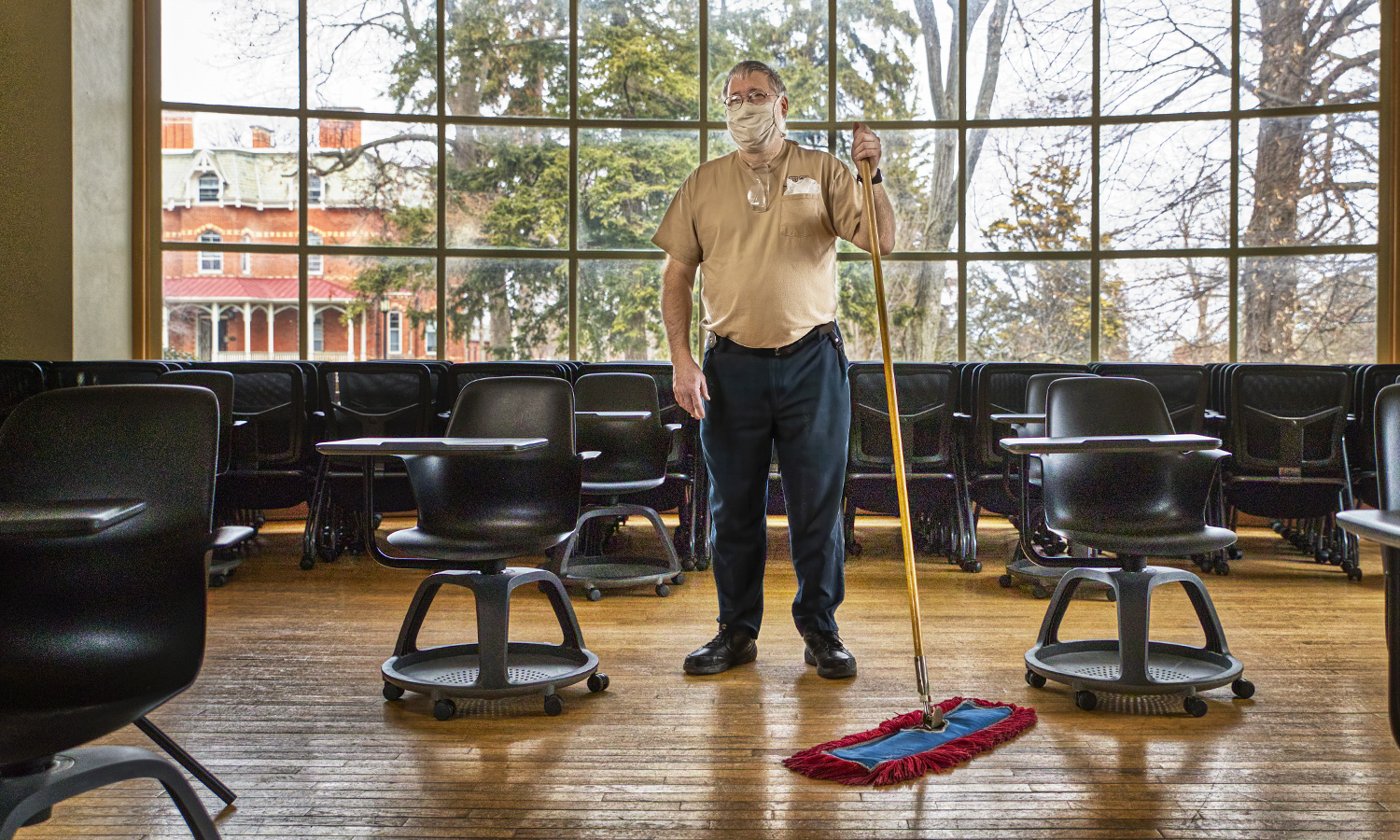Project Housekeeping,  KColton, Louis Freier, been here 31 years, Hirshson Hall,
