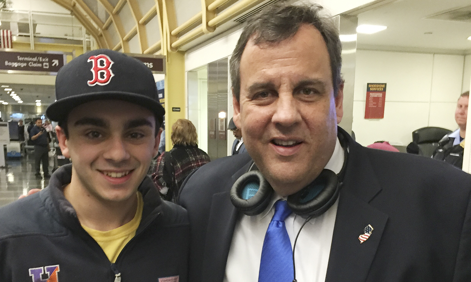 August Savarese H'17 with Governor Chris Christie in Reagan International Airport