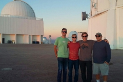 Jonathan Tuttle '18, Joshua Andrews '20, Frank Newman '19 and Dylan Doeblin '18 pose for a photo outside of Cerro Tololo Inter-American Observatory.