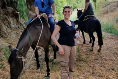 Joshua Andrews '20, Assistant Professor of Physics Leslie Hebb and Taylor Gorycki '18 go horseback riding in the Andes Mountains.