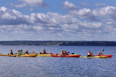First-year students participating in the Pre-Orientation Adventure Program take to the water near the Seneca Lake Yacht Club for a lesson.
