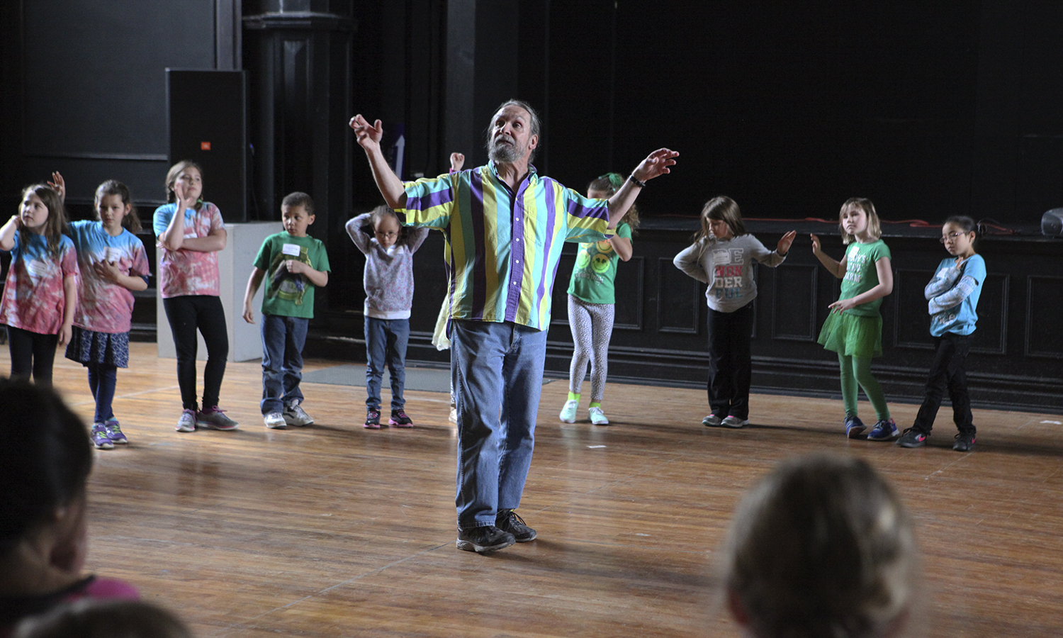 Visiting second graders from the Geneva City School District participate in a number of events around campus. The event was sponsored by the Geneva 2020 Initiative and the Center for Community Engagement and Service Learning.Professor of Education Pat Collins leads an acting workshop in the Bartlett Theatre.