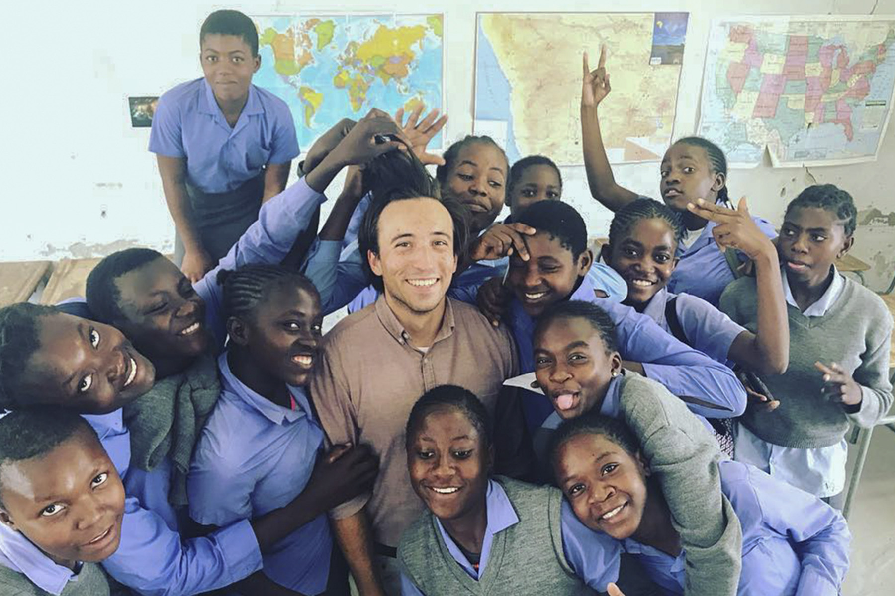 Graham Legget â17 poses with his students in Namibia.