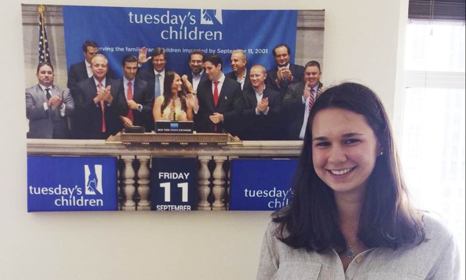 Olivia Bloch '20 poses at Tuesday's Children, a non-profit advocacy group that helps families of victims of 9/11. Bloch is a summer program assistant with the organization.