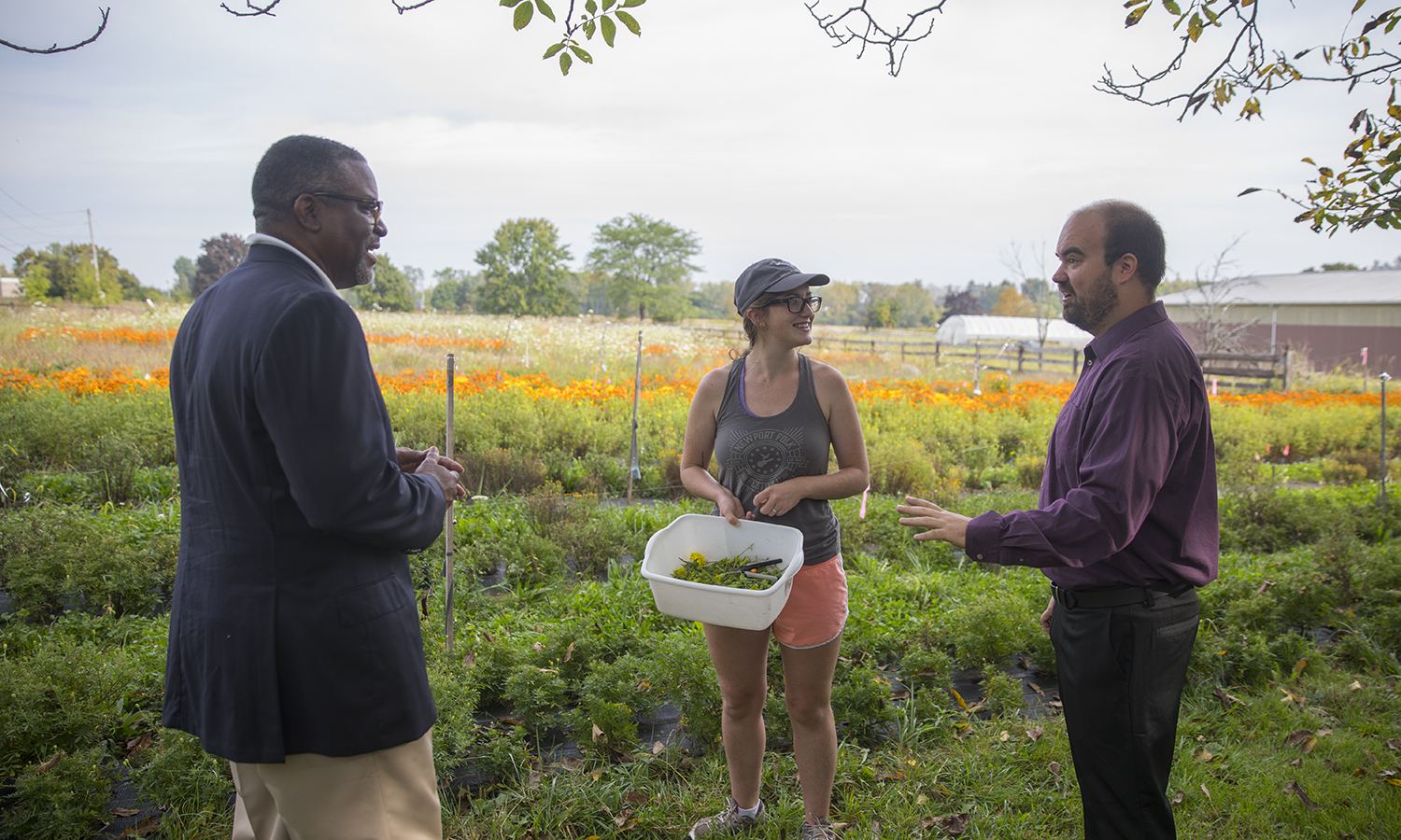 President Vincent, Emily Kelley '17, Craig Talmage speak at Fribolin Farm about ways to use the farm in conjunction with entrepreneurial studies.