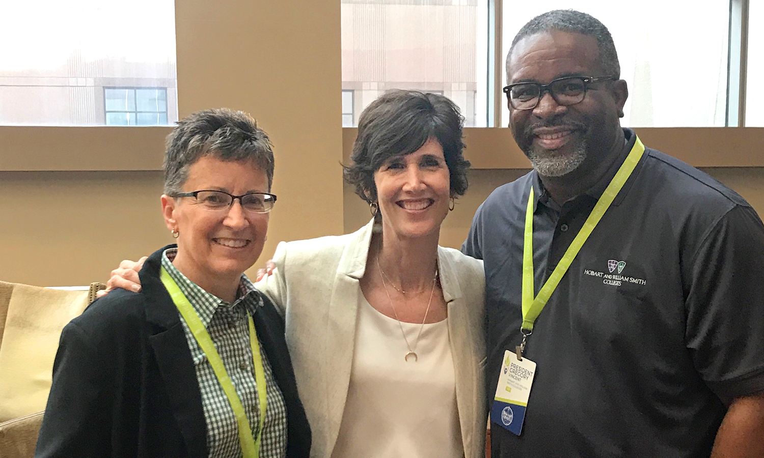 William Smith Athletic Director Deb Steward, Executive Director of the Women Leaders in College Sports Patti Phillips and President Gregory J. Vincent '83 pose for a photo at the Women Leaders National Convention in Dallas, Texas.