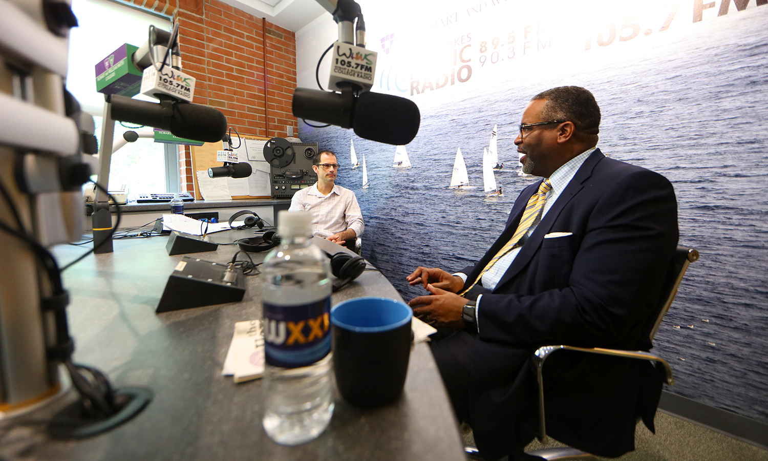 "President Gregory J. Vincent '83 discusses his career in higher education on WXXI's ""Connections"" with Evan Dawson at the Colleges' radio station in the Scandling Campus Center."
