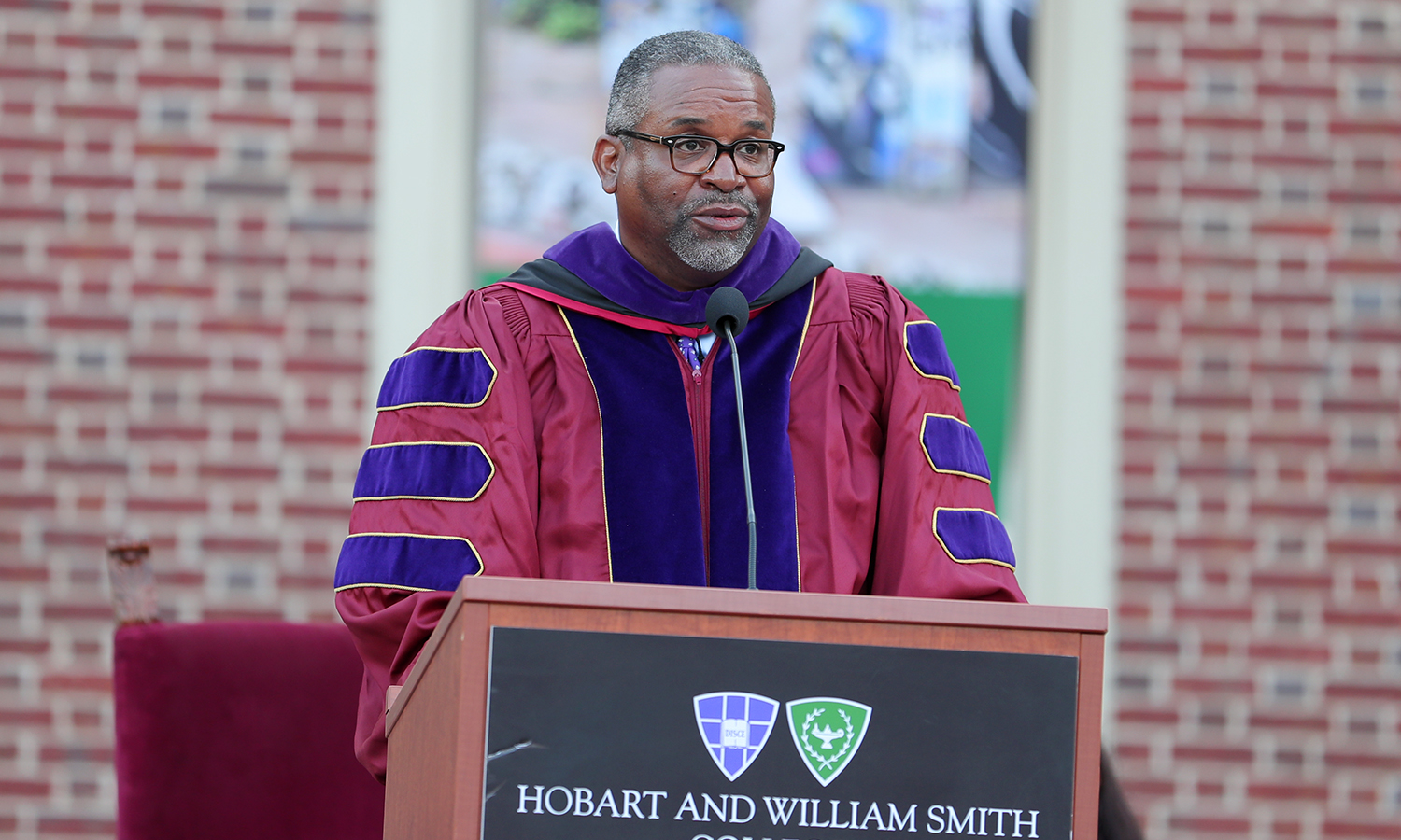 "President Gregory J. Vincent '83 talks about his vision for the upcoming academic year during Convocation 2017. He said: ""We are a campus that stands united in the pursuit of knowledge; that believes in the capacity of art, literature, music, theatre and dance to uplift; and that recognizes the power of science and ideas to change the world."""
