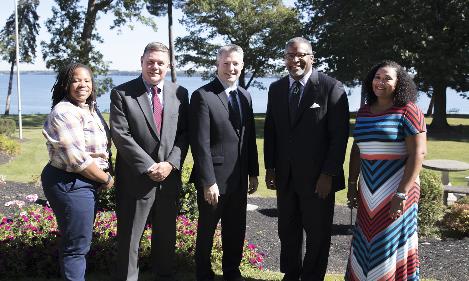 Associate Dean of Students and Posse Mentor Stacey Pierce, Vice President for Student Affairs Robb Flowers, Chief Operating Officer for Posse National Matt Fasciano, President Gregory J. Vincent '83 and Posse Los Angeles Director Tamara Craver gather for a photo after a meeting at Belhurst Castle.