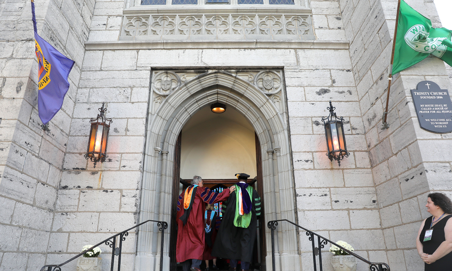 Chair of the Board of Trustees Thomas S. Bozzuto '68 and President Gregory J. Vincent '83 enter Trinity Church.