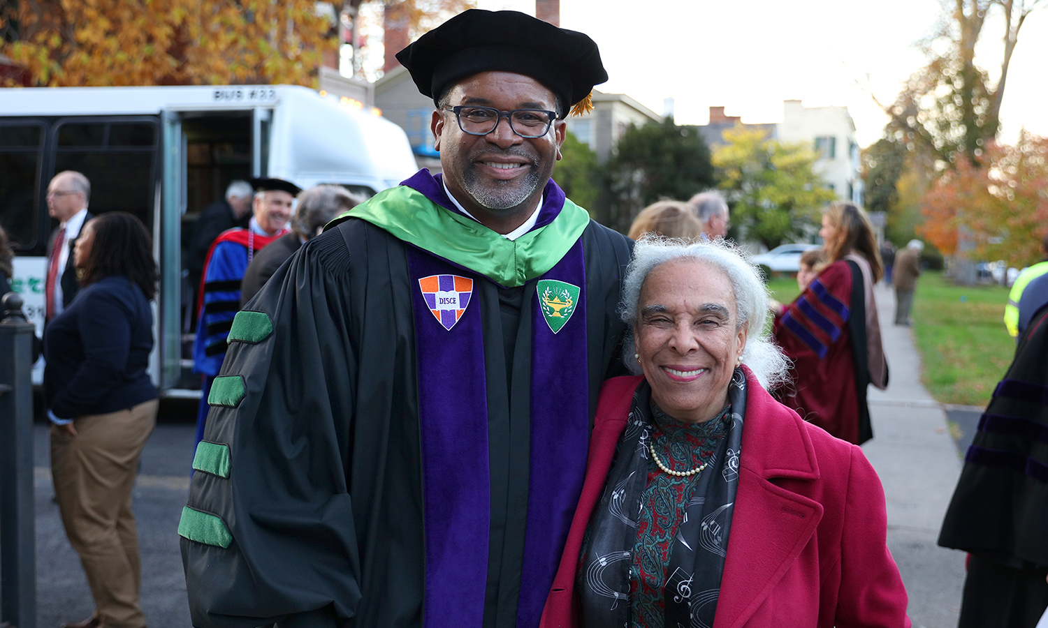 President Gregory J. Vincent '83 poses for a photo with Patricia Adams, the daughter of the Rev. Dr. Alger L. Adams '32, D.D. '83 the first African-American man to receive a degree from Hobart College, graduating magna cum laude and Phi Beta Kappa.