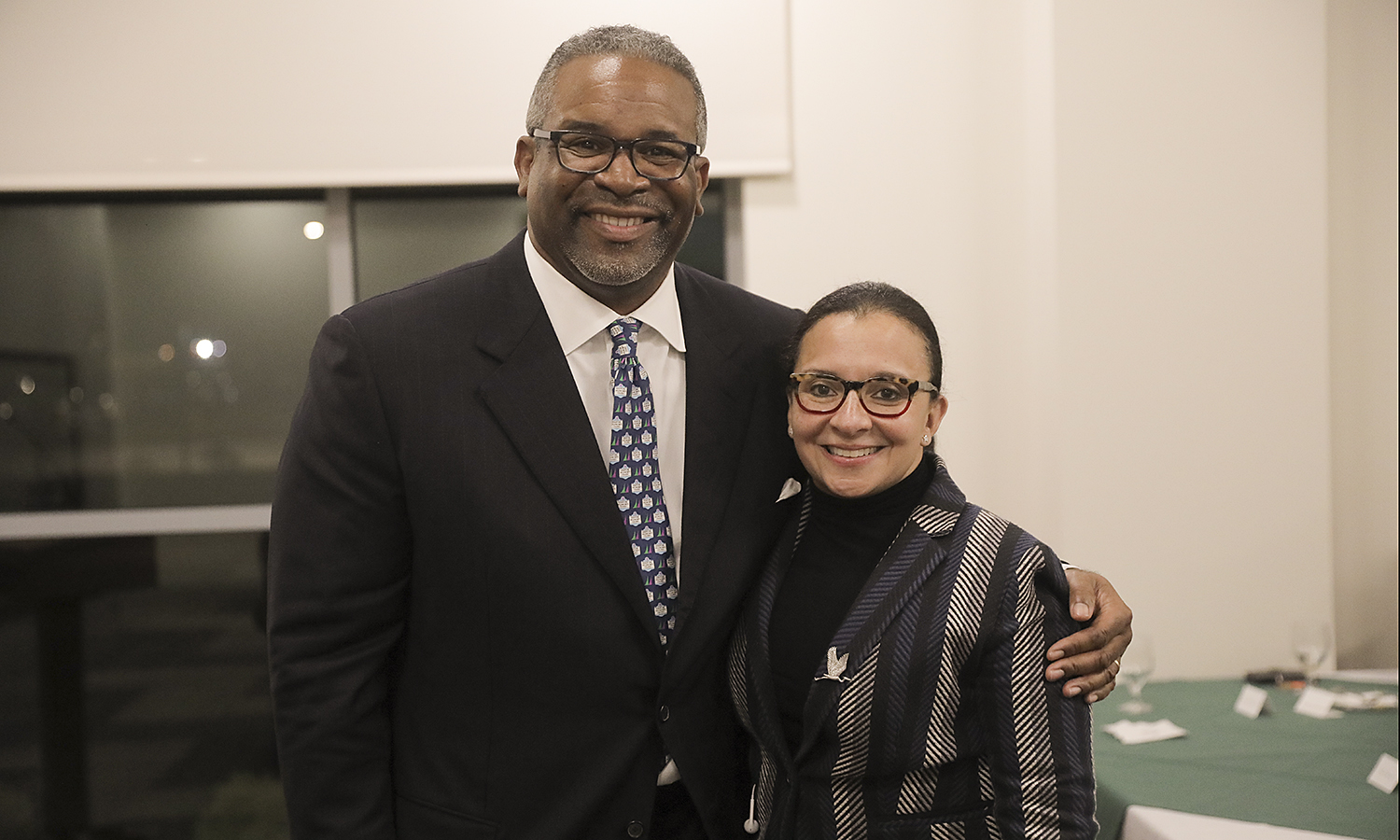 President Gregory J. Vincent '83 and Chrysa Chin '84 pose for a photo during the William Smith Founder's Day dinner. Chin received the William Smith Alumnae Association's highest honor, the Alumna Achievement Award.