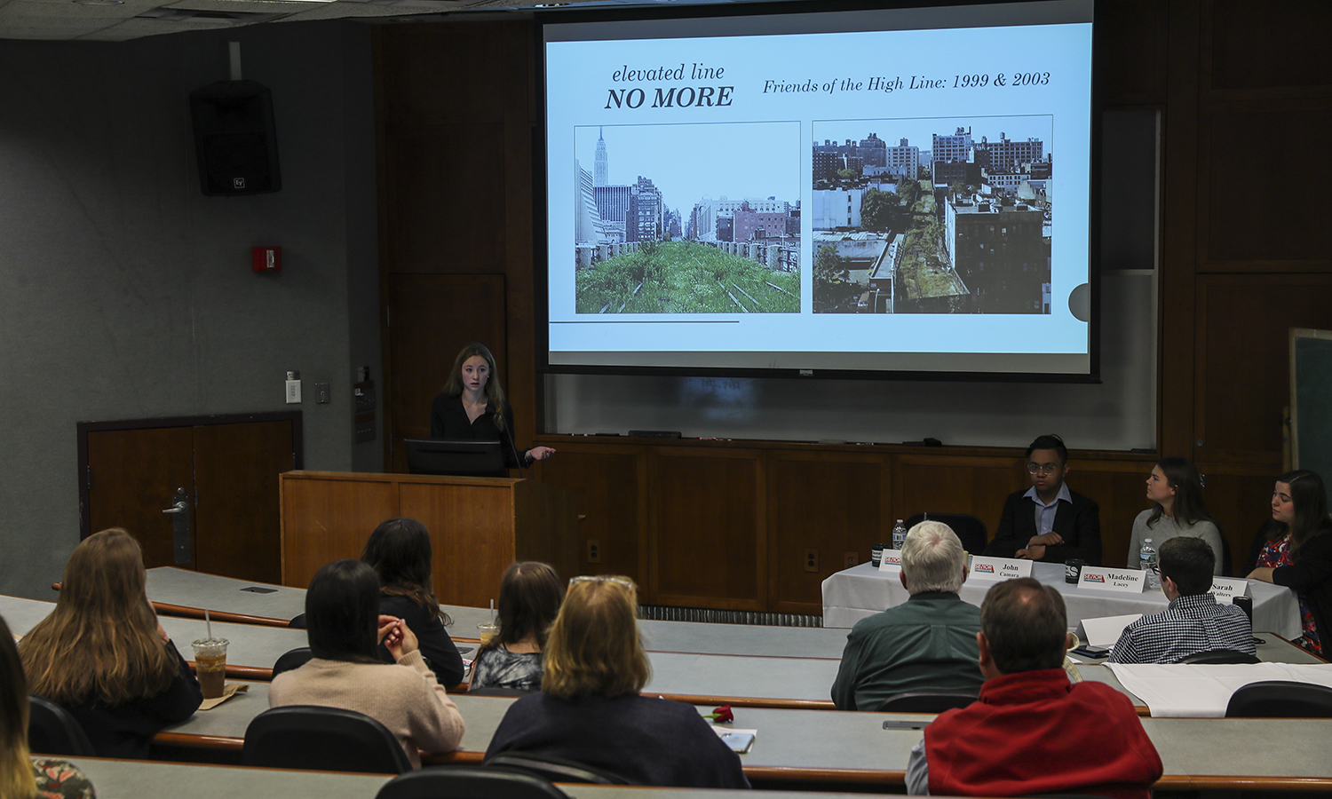 "Megan Barwick presenting ""Living on the Wrong Side of the Tracks: The Divided Neighborhood That Followed New York City's High Line."""