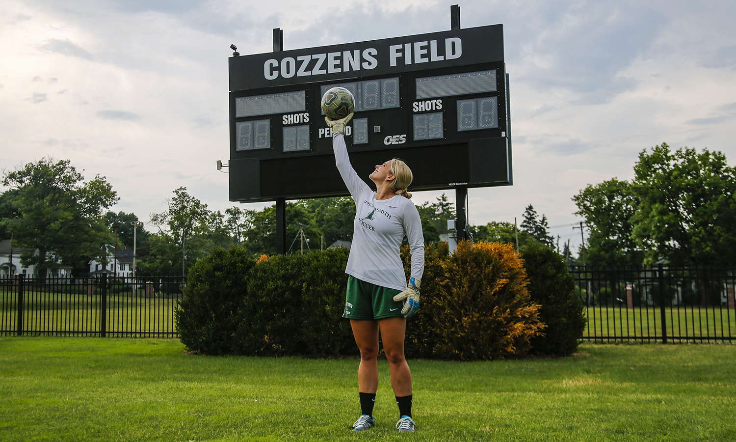 Ally Bryan '20, a Varisty William Smith soccer player, stands on Cozzens Field. Cozzens is her favourite place on campus because of the amazing memories of her friends and teammates both in practice and in games. Ally is on campus this summer doing genetics research with Professor Cosentino in the Biology Department.