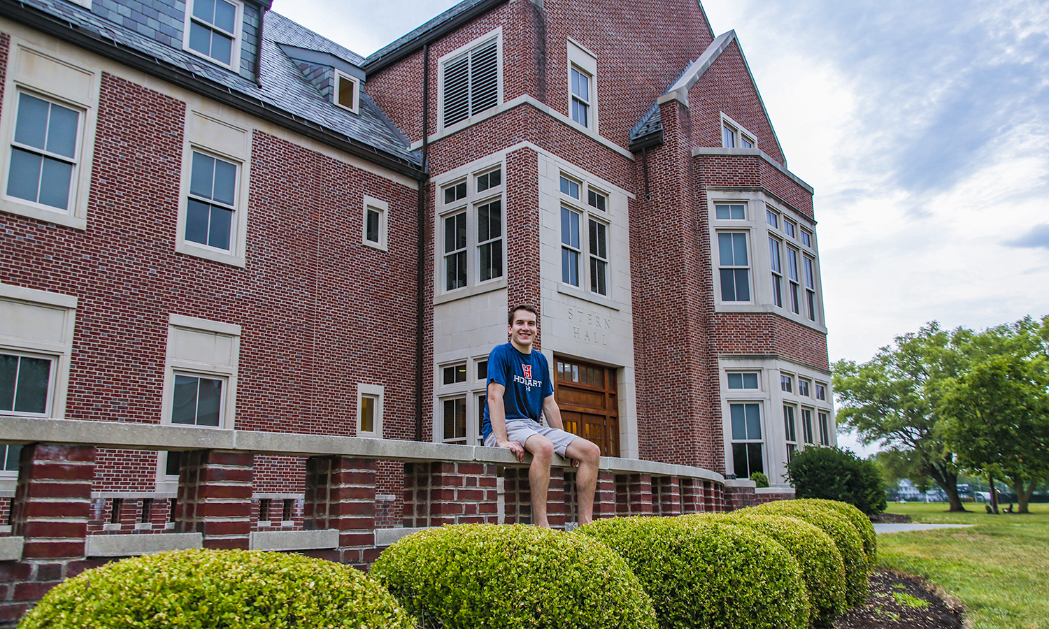 Jack Sherwood '19 is on campus this summer doing research with Professor Stennett in the Chemistry Department. He is pictured sitting in front of his favourite building on campus, Stern Hall. He enjoys studing there becuase it is often less crowded then the library during finals.