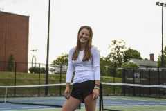 """Sophomore Kate Foley is pictured on the Marrow Championship Court saying, """"Tennis was the one thing I knew as a first year, and it gave me an escape when school became overwhelming."""" Kate is on campus this summer doing biology research with Professor Susan Cushman in the Biology Department."""