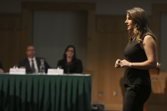 """Maura Moran '18 pitches """"Frontier Financial"""", a budgeting tool for young professionals who are building a foundation for financial independence."""