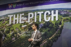 """Samuel Andra '20 pitches """"Sense,"""" an advanced tremolo/vibrado system that aids in the prevention of guitar tuning issues, at the annual 2019 Pitch Contest. Andra was one of five contestants to compete in the contest."""
