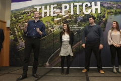"""While the judges deliberate, four students present their """"Flash Pitch,"""" a ninety-second pitch for a product or service. In the photo above, the audience-selected winner of the competition Cort Williams '19 presents """"SkyHigh."""""""