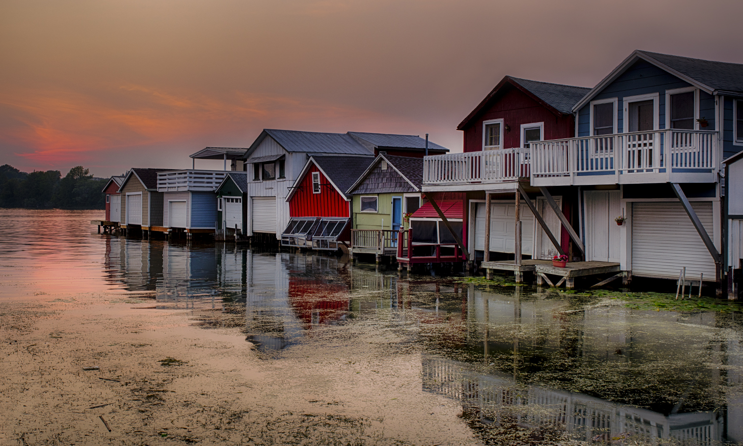 A view of the iconic Boathouse Row at the end of Canandaigua City Pier.