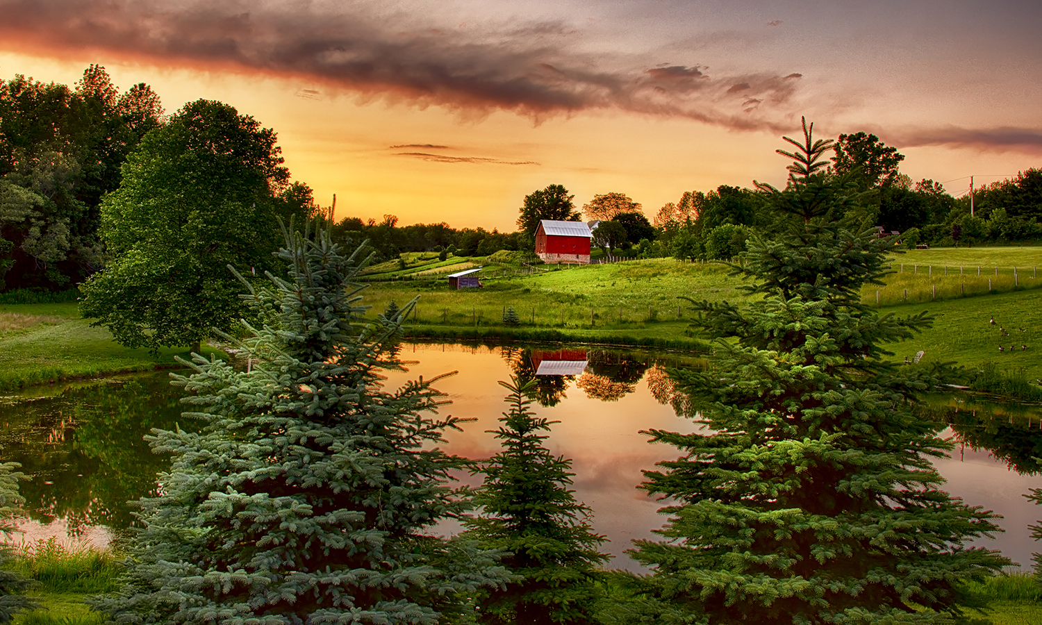 The sun sets over a farm in Shortsville, N.Y.