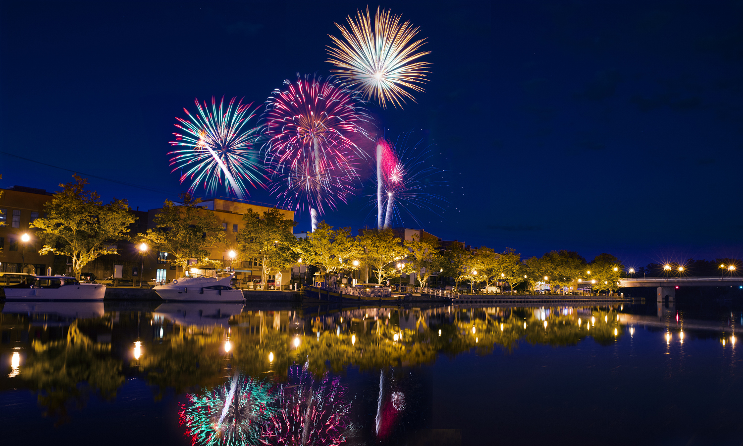 Fireworks illuminate the sky above the village of Seneca Falls, N.Y.