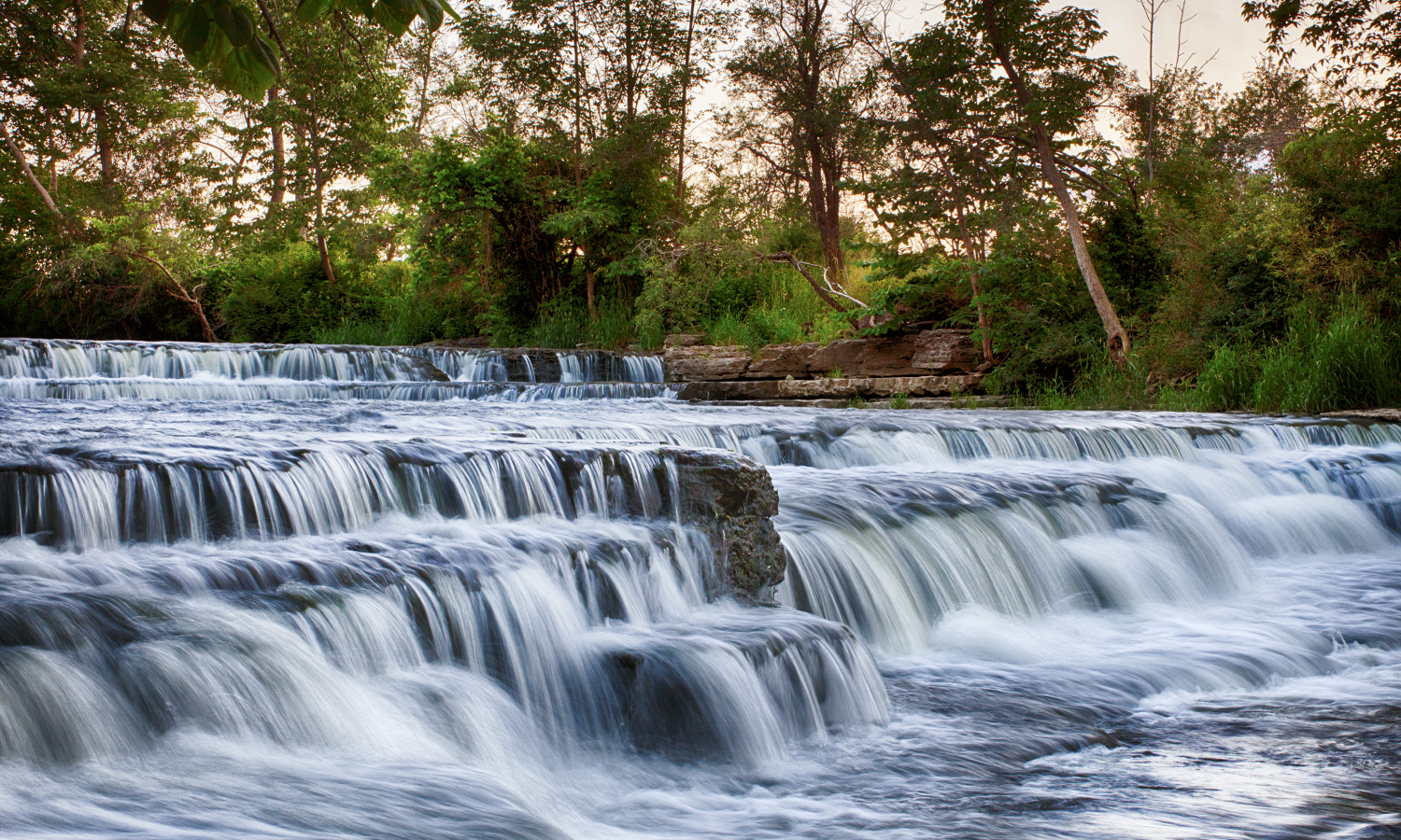 Water rushes over Double Down Falls at Flint Creek in Ontario, N.Y.