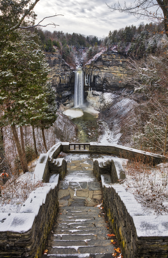 A wintry view in Taughannock Falls State Park near Cayuga Lake. The park is a popular destination for HWS students.