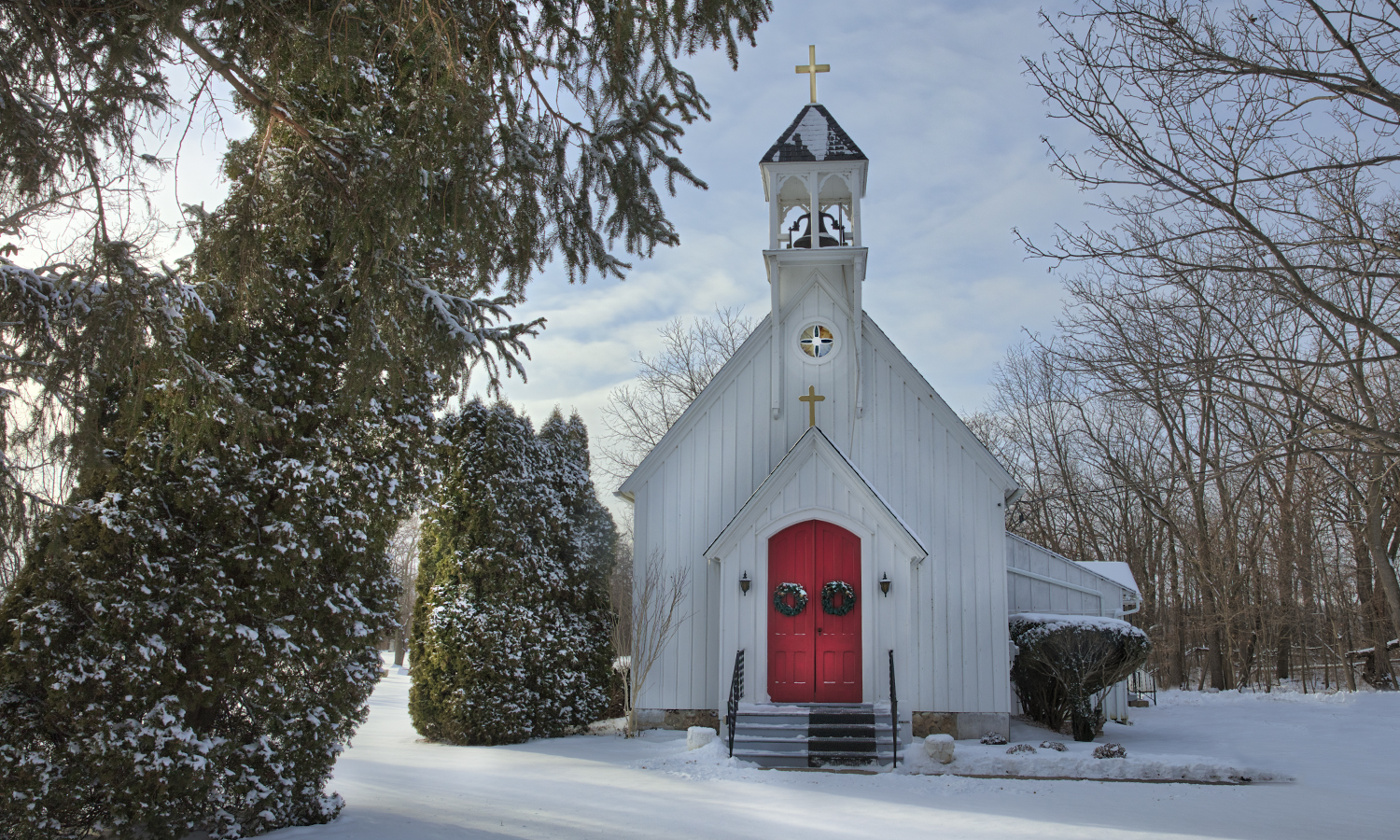 The Grace (Willowdale) Episcopal Church on a bright winter day.