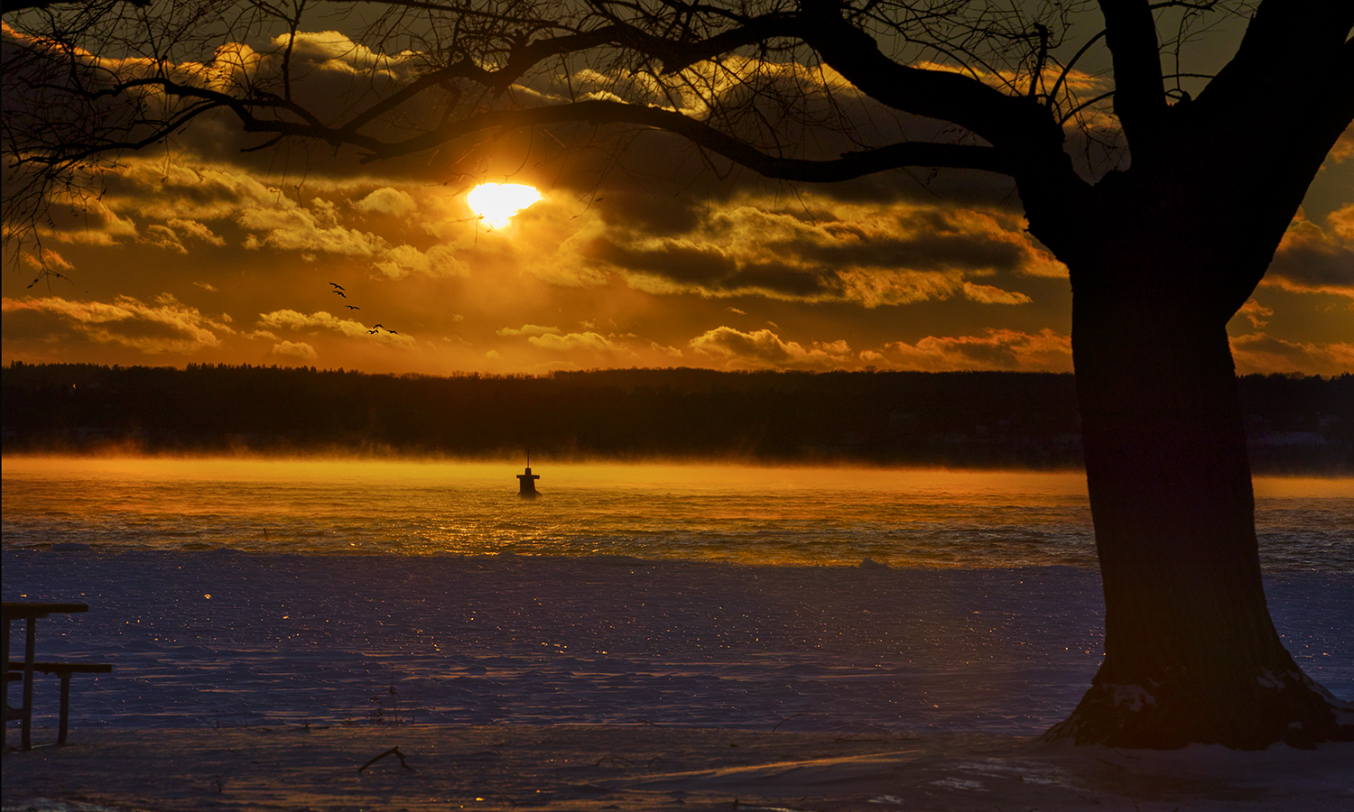 A gorgeous winter sunset in Seneca Lake State Park.