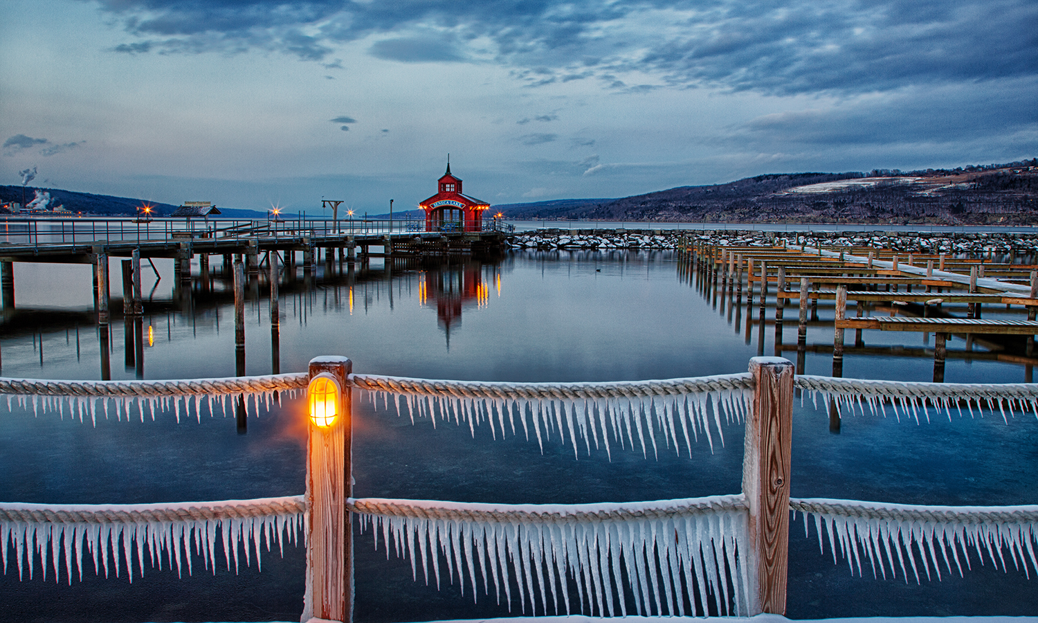 Icicles adorn the rope railings at Watkins Glen Harbor.