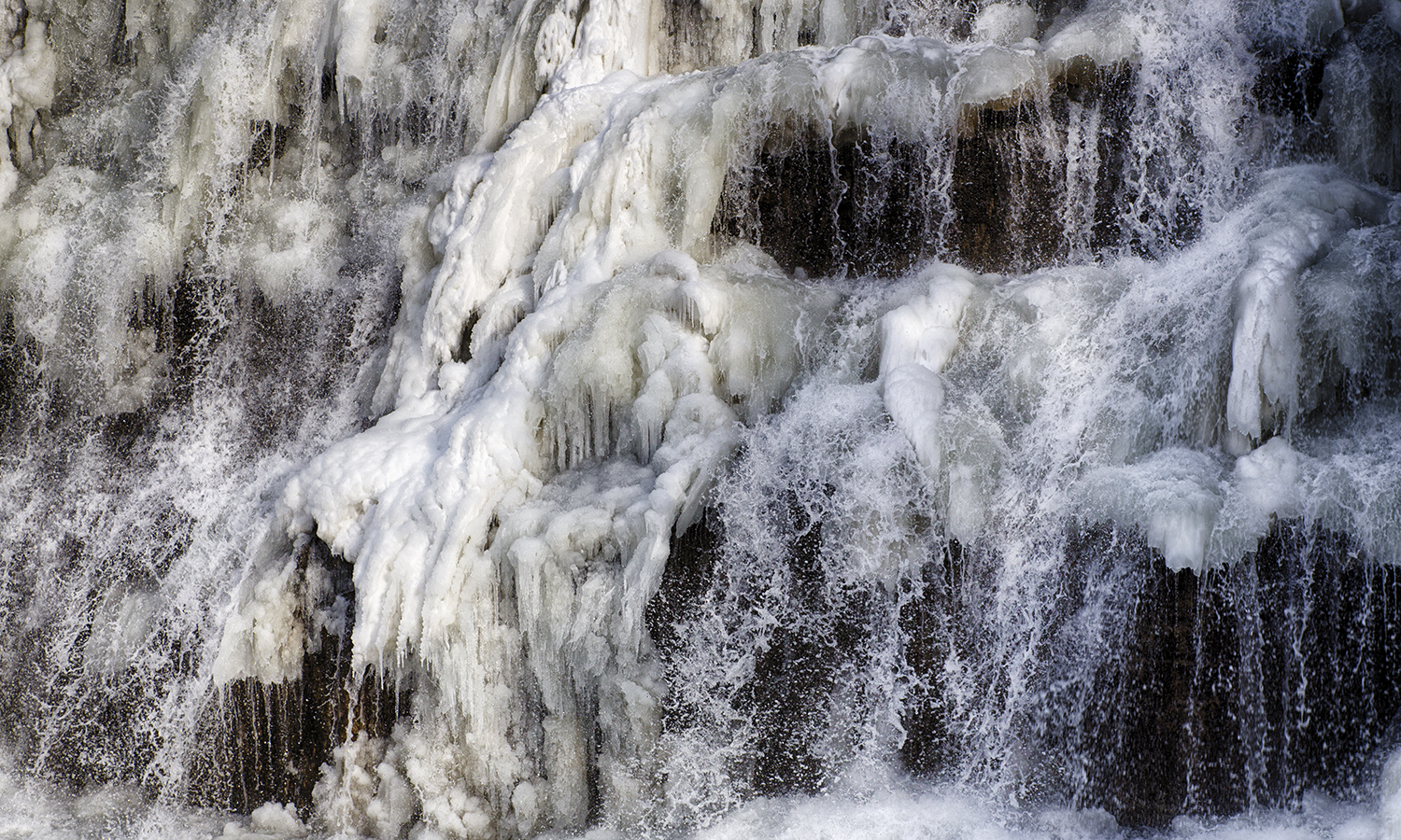 Ice forms on a waterfall near Watkins Glen.