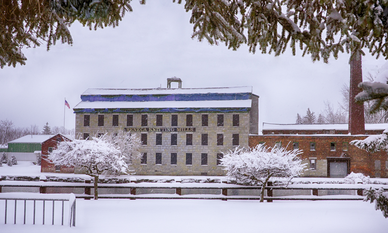 The Seneca Knitting Mill in the snow. The historic Seneca Falls building will be the new home of the National Women's Hall of Fame once renovations are completed.