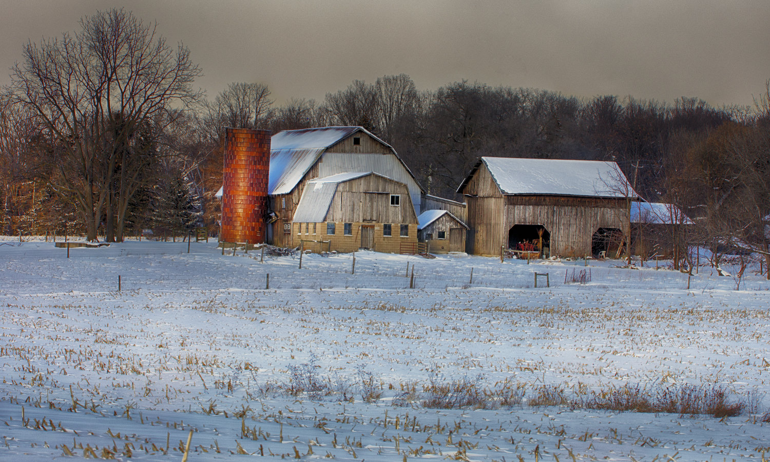 A snow-covered farm near Seneca Lake.