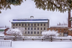 The Seneca Knitting Mill in the snow. The historic Seneca Falls building will be the new home of the National Womenâs Hall of Fame once renovations are completed.