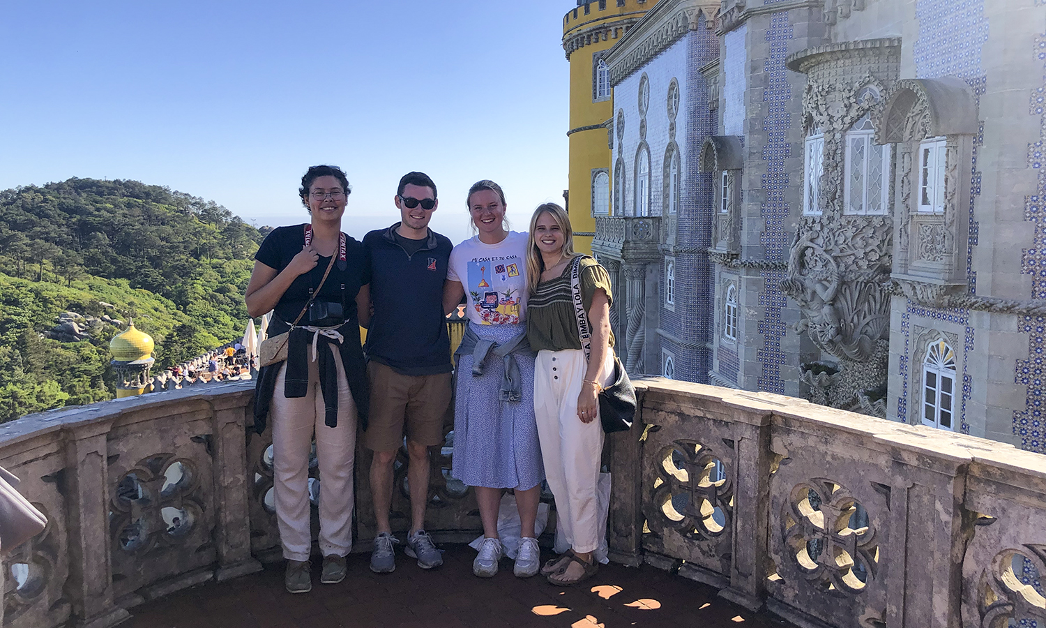 Elizabeth Fajardo '20, Josh Wasserman '20, Madeline Fitzwilliam '20 and Ally Bryan '20 visit the Park and National Palace of Pena in Sintra, Portugal, while studying abroad in Germany, Denmark, Italy and Spain, respectively.