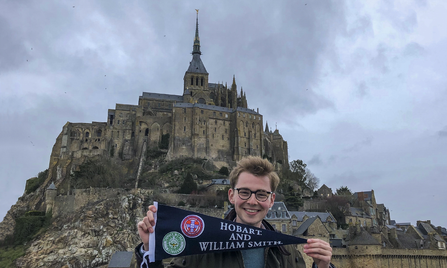 Gavin Flood '20 visits Mont-Saint-Michel during a class excursion while studying abroad in Rennes, France.